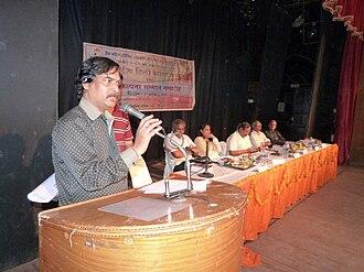 Blog award - Founder of Parikalpna Award Mr. Ravindra Prabhat addressed in International Hindi Bloggers Conference in Lucknow, 27 August 2012