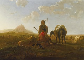 Two Shepherds in a Hilly Landscape