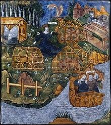 Enea costruisce la tomba per la sua nutrice Caieta e fugge dalle terre di Circe, smalto su rame del Maestro della leggenda di Enea (1530-1535 circa)