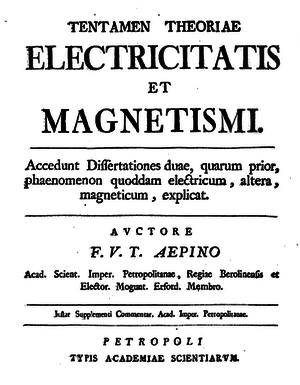 Franz Aepinus - Title page of his 1759 book