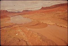 Aerial View Upstream of Boom Site in Monument Valley, Utah Where Oil Spill Into San Juan River Was Temporarily Contained before Flooding Caused Overflow Into Lake Powell, 10-1972 (3814969668).jpg