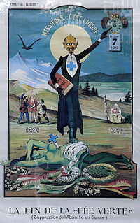 The end of the Green Fairy (1910): Critical poster by Albert Gantner illustrating the absinthe ban in Switzerland.