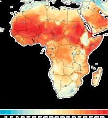 Afrika karta med färgade temperaturzoner