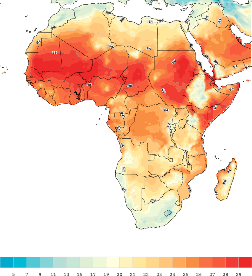 Africa 1971 2000 mean temperature