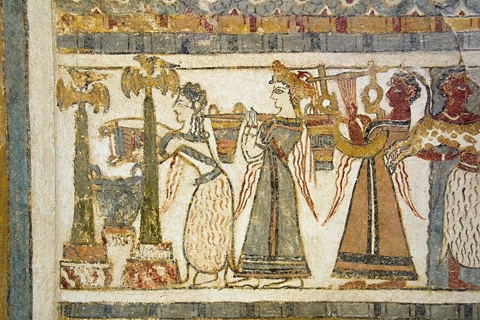 Agia Triada, sarcophagus, long side 2, limestone, frescoes, 1370-1320 BC, AMH, 145310