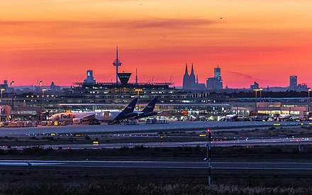 Airport in front of Cologne's skyline