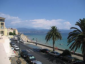 Coastal boulevard in Ajaccio, the island's capital and Napoleon's birthplace.