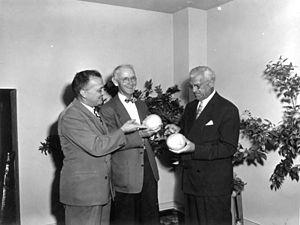 Al Lang - Photo of Pete Norton, Al Lang and Will Harridge at the Florida Governor's March 1951 Baseball Dinner - Tampa, Florida