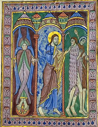 Christophany - The pre-existent Christ expels Adam and Eve from the Garden of Eden; St Albans Psalter