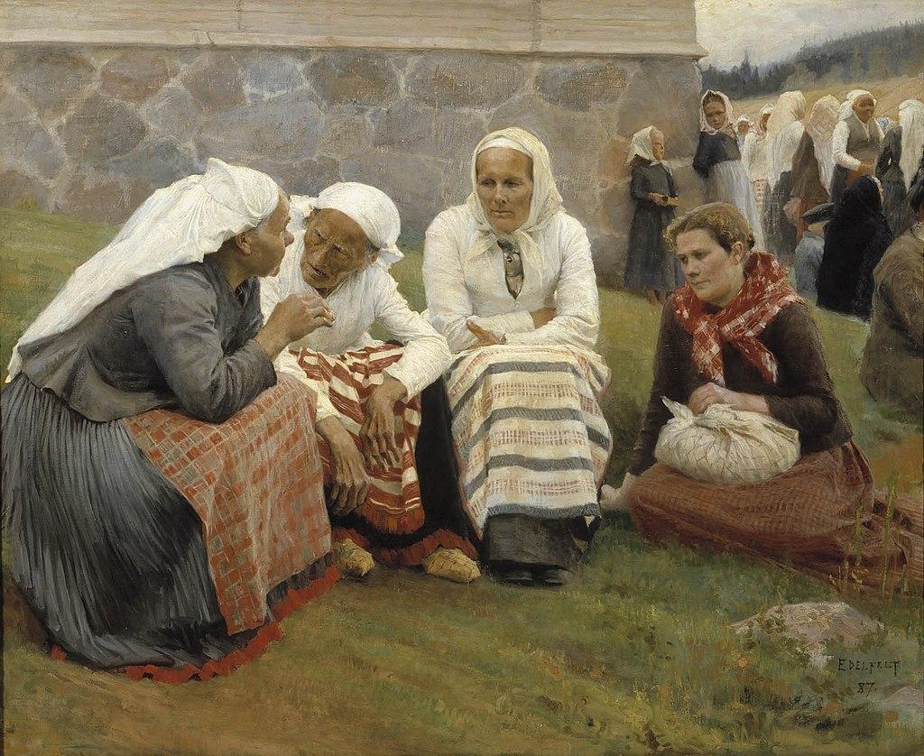 Ca s'est passé en juillet ! 1024px-Albert_Edelfelt_-_Women_Outside_the_Church_at_Ruokolahti
