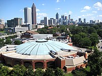 Alexander Memorial Coliseum IN THE FOREGROUND AND DOWNTOWN ATLANTA IN THE BACKGROUND.JPG