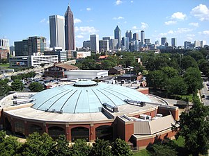 McCamish Pavilion - Image: Alexander Memorial Coliseum IN THE FOREGROUND AND DOWNTOWN ATLANTA IN THE BACKGROUND