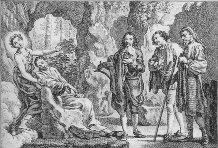 The death of Alexander Pope from Museus, a threnody by William Mason. Diana holds the dying Pope, and John Milton, Edmund Spenser, and Geoffrey Chaucer prepare to welcome him to heaven. Alexander Pope dying.png