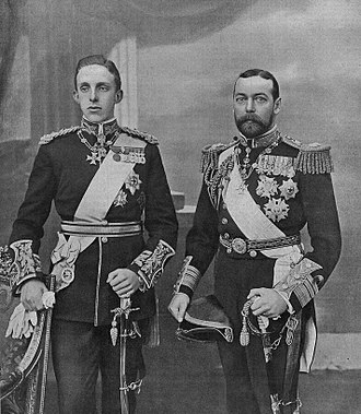 Order of chivalry - Alfonso XIII of Spain (left) with his cousin, the future King George V (right) during his State Visit to the United Kingdom in 1905. Alfonso is wearing the uniform of a general of the British Army, the Royal Victorian Chain, the sash and star of the Garter, the collar grade cross of the Order of Charles III, the neck badge of the Golden Fleece, and the badge of the four Spanish military orders. George, then Prince of Wales, is wearing the neck badge of the Golden Fleece, the sash and collar grade cross of the Order of Charles III, the Royal Victorian Chain, and the stars of the Garter and the Order of St Michael and St George.