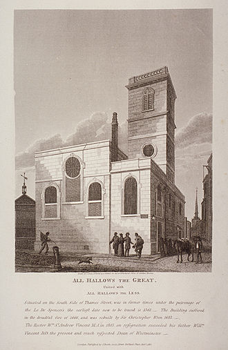 All-Hallows-the-Great - All-Hallows-the-Great, 1812 engraving by Joseph Skelton after John Coney.