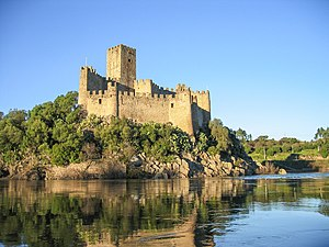 Castles in Portugal - Almourol Castle, built c. 1171 on an island of the Tagus river by the Templar Knights. The highest tower is the square-shaped keep of the castle.