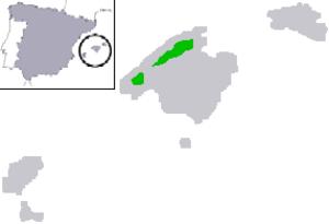 Majorcan midwife toad - Image: Alytes muletensis map