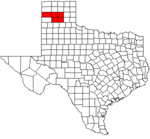 Amarillo metropolitan area - Map of Texas highlighting the Amarillo metropolitan area.