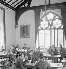 Photograph of American service personnel relaxing in the Bishop's Palace during the Second World War