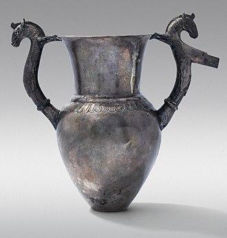 Amphora - Silver amphora-rhyton with zoomorphic handles; circa 500 BC; Vassil Bojkov Collection (Sofia, Bulgaria)
