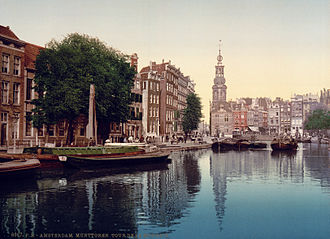 Singel - The Munttoren seen from the Singel, postcard from 1900.