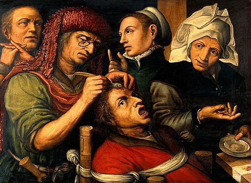 An operation for stone in the head. Oil painting by a follow Wellcome V0017408