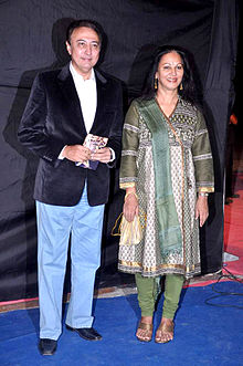 Actor Anang Desai with his wife at Colors Indian Telly Awards
