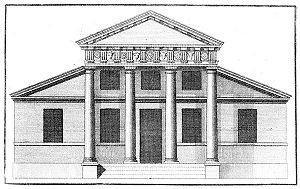 Palladian architecture - A villa with a superimposed portico, from Book IV of Palladio's I quattro libri dell'architettura, in an English translation published in London, 1736.