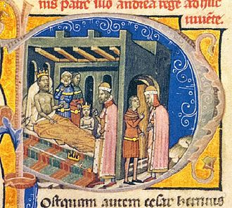 Béla I of Hungary - The scene at Tiszavárkony depicted in the Illuminated Chronicle: the paralyzed King Andrew forces Duke Béla to choose between the crown and the sword