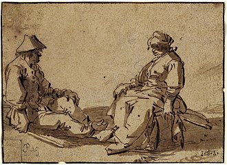 Andries Both - Sitting peasant couple