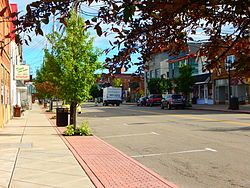 Main Street (Erie County Route 9) through downtown Angola.
