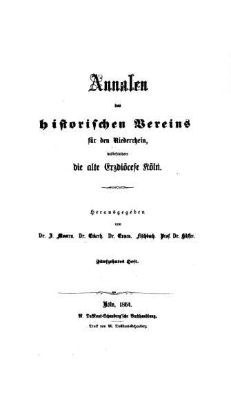 File:Annalen des Historischen Vereins für den Niederrhein 15 (1864).djvu