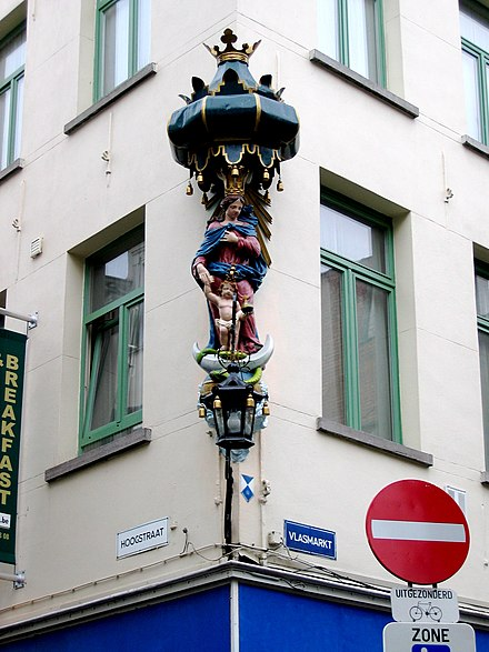 One of the many Marian statues which feature on Antwerp street corners Antwerpstreetcorner.jpg