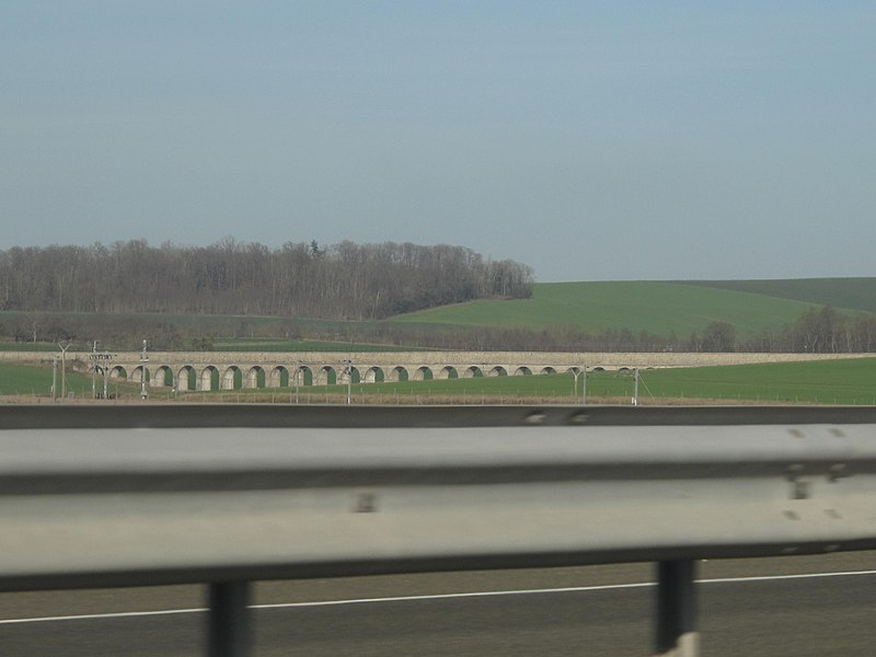 The aqueduct of the Vanne river seen from the on French highway A19.
