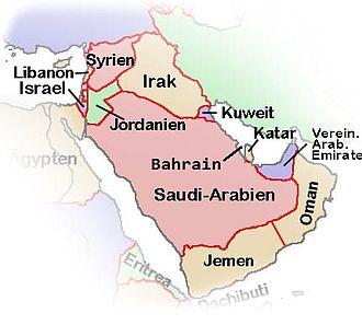 Politische Karte der Arabischen Halbinsel