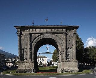 triumphal arch in Aosta, Italy