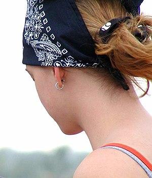 Kerchief - A woman wearing a bandana on her head