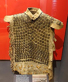470e4cbaa Tlingit body armour made with Chinese cash coins on display at the Peabody  Museum of Archaeology and Ethnology.