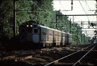 Delaware, Lackawanna and Western Railroad - A train on the Morristown Line in South Orange, NJ. Two Arrow III singles lead an Arrow II pair.