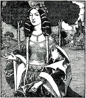Guinevere - Lady Guinevere, Howard Pyle's illustration for The Story of King Arthur and His Knights (1903)
