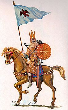 An illustration of an Iranian cavalryman on a horse holding a shield and a flag pole