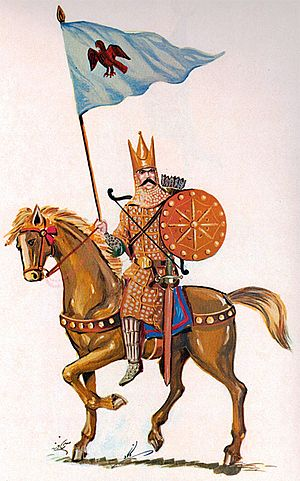 Aswaran - Illustration of an asbaran cavalryman holding a banner showing a Homa, a mythical bird of Iranian legends and fables.