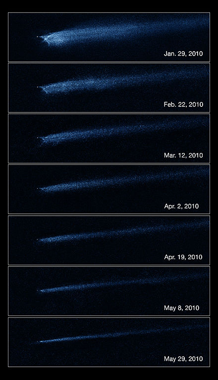 Hubble's Wide Field Camera 3 clearly shows the slow evolution of the debris coming from asteroid P/2010 A2, assumed to be due to a collision with a smaller asteroid. Asteroid Collision Hubble.jpg