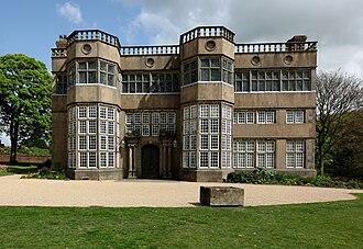 Astley Hall, Chorley - The 17th century stone entrance facade.