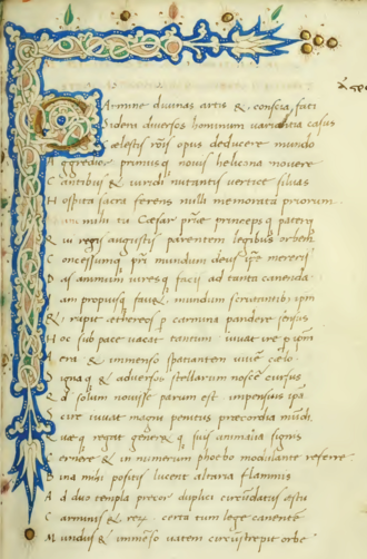 Astronomica (Manilius) - The first page of the Astronomica, from a 1461 manuscript