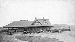 Escondido, California - Atchison, Topeka and Santa Fe Railway depot in Escondido, circa 1887-1889
