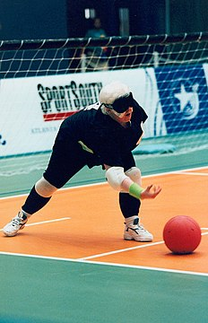 Goalballer Raelene Bock (NSW) competes for Australia at the 1996 Summer Paralympics