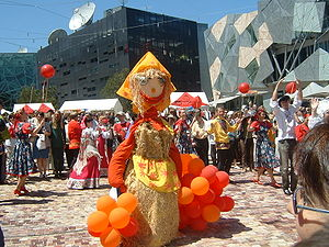The spring fertility festival of Maslenitsa, rooted in pagan times and involving the burning of a straw effigy is still celebrated by Slavs all over the world, as seen here in Melbourne, Australia.