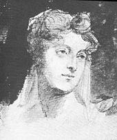 Byrons Halbschwester Augusta, Kohlezeichnung von Georg Hayter (Quelle: Wikimedia)