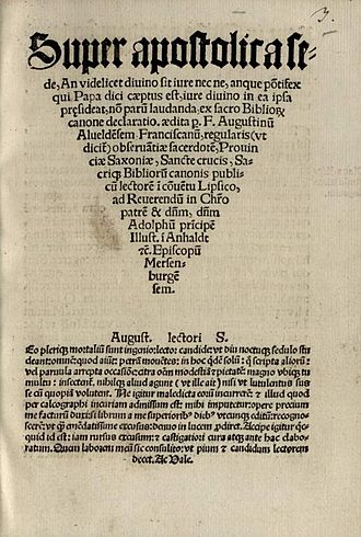 Augustine of Alfeld - Title page of Super apostolica sede (1520)